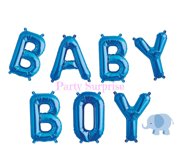 baby boy balloon banner blue letter balloons baby boy banner etsy
