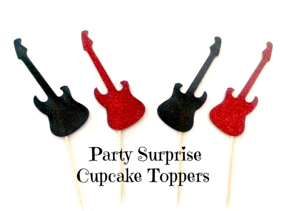 Guitar Cupcake Toppers Red And Black Glitter Guitar Cake And Etsy