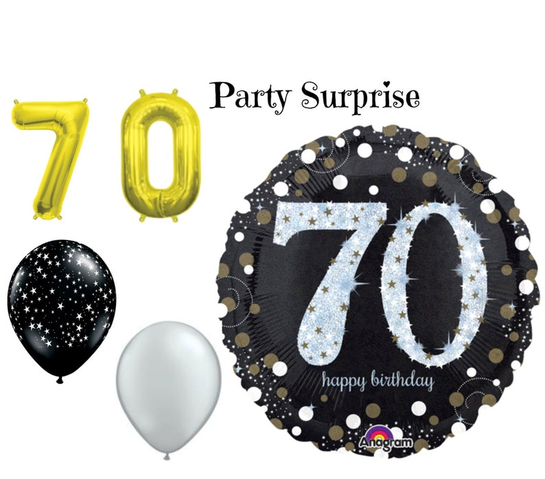 70th Birthday Party Balloons 70 Black Gold Silver