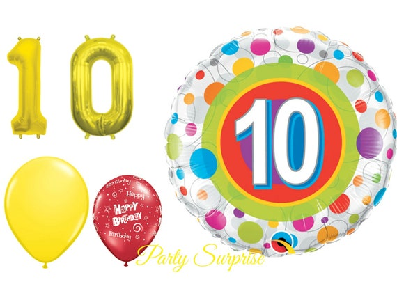 10th Birthday Balloon Pack Years 10 Year Old Party Boy Girl Gold Number Kid