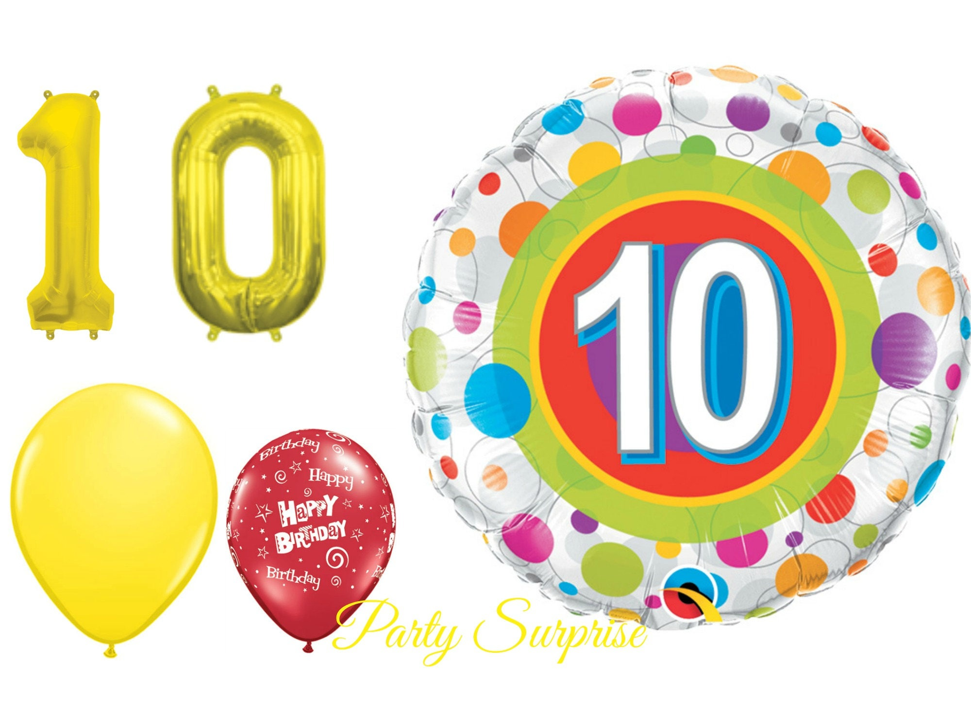 10th Birthday Balloon Pack Years 10 Year Old Party