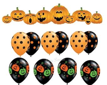 Halloween Balloons Halloween Pumpkin Balloons Orange and Black polka dot Balloons Halloween Party Decor Made in USA