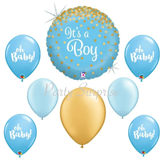 oh baby boy balloons blue gold boy baby shower its a boy etsy
