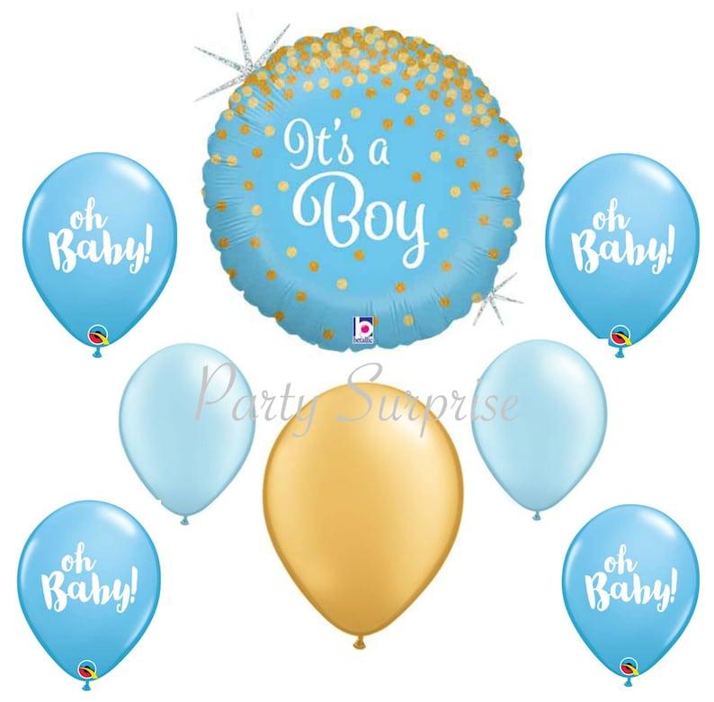 Baby Shower Supplies Blue Mustache It/'s a Boy Polka dots Foil balloons bouquet