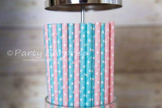 Gender Reveal Straws Baby Shower Kids Princess Girl Boy Party Polka Dot Paper Strws Polka Dot Paper Straws Baby Blue Straws