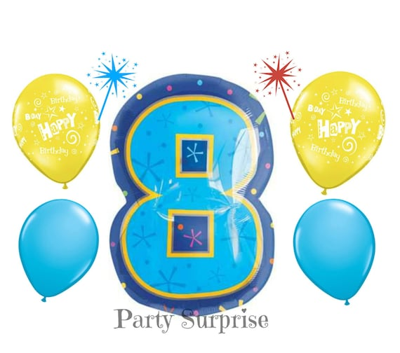 Number 8 Balloon 8th Birthday Party Balloons Boy Girl Kids