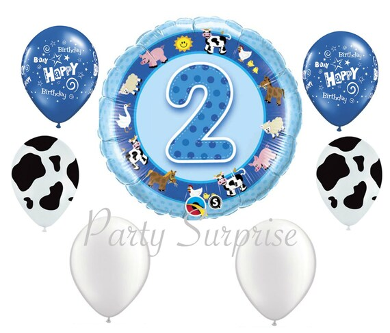 Farm 2nd Birthday Boy Balloon Package Party 2 Two Year Old Balloons Cow