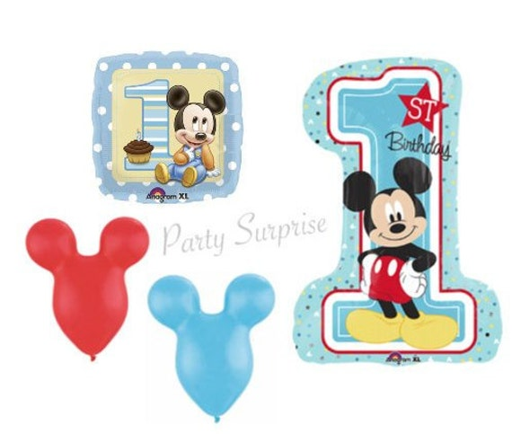 1st Birthday Boy Mickey Mouse Balloon Package Baby Jumbo Number 1 Happy Party