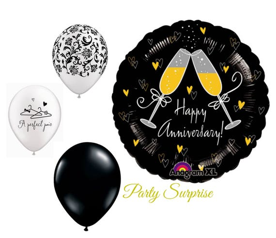 9 Inch Happy Anniversary Damask Mini Balloon
