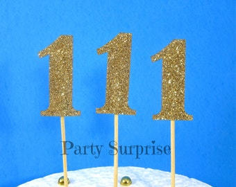 Gold Number 1 Cupcake Toppers Gold Glitter 1st Birthday Party 1st Year Anniversary Glitter Number 1 Cake Cupcake Topper Decoration