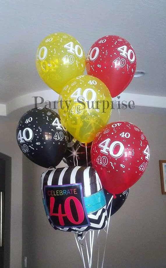 40th Birthday Balloons Anniversary Latex Black Red Blue Green Clear Party Decorations