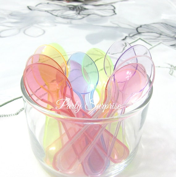Mini Spoons Disposable Assorted Pastel Colors 3 Food Safe Pink