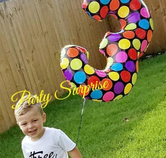 Number 3 Balloon Big 40 Birthday 3rd Anniversary Polka Dot Years Old Party