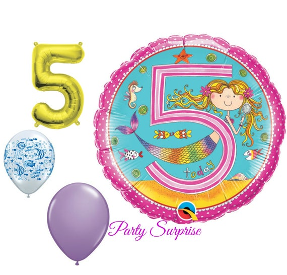 5th Birthday Balloons Girl Mermaid Party Under The Sea 5