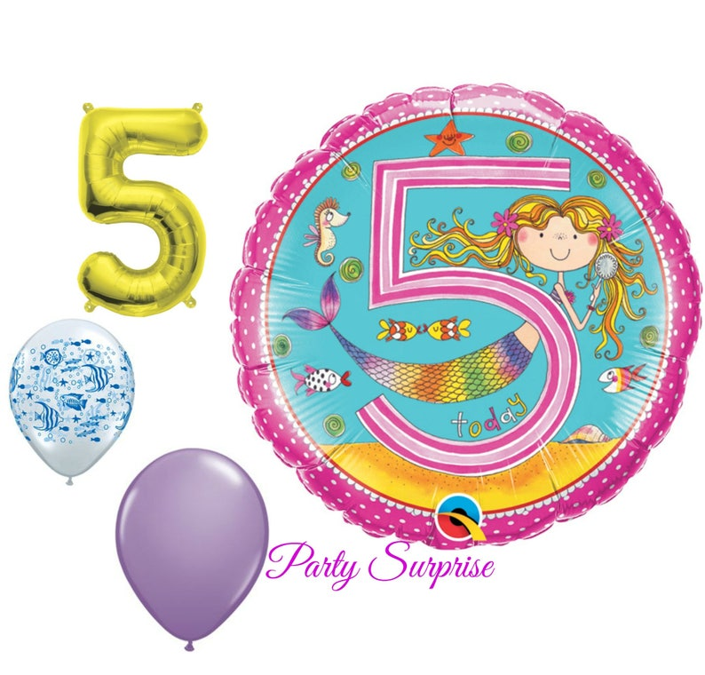 5th Birthday Balloons Girl Mermaid Party Under The