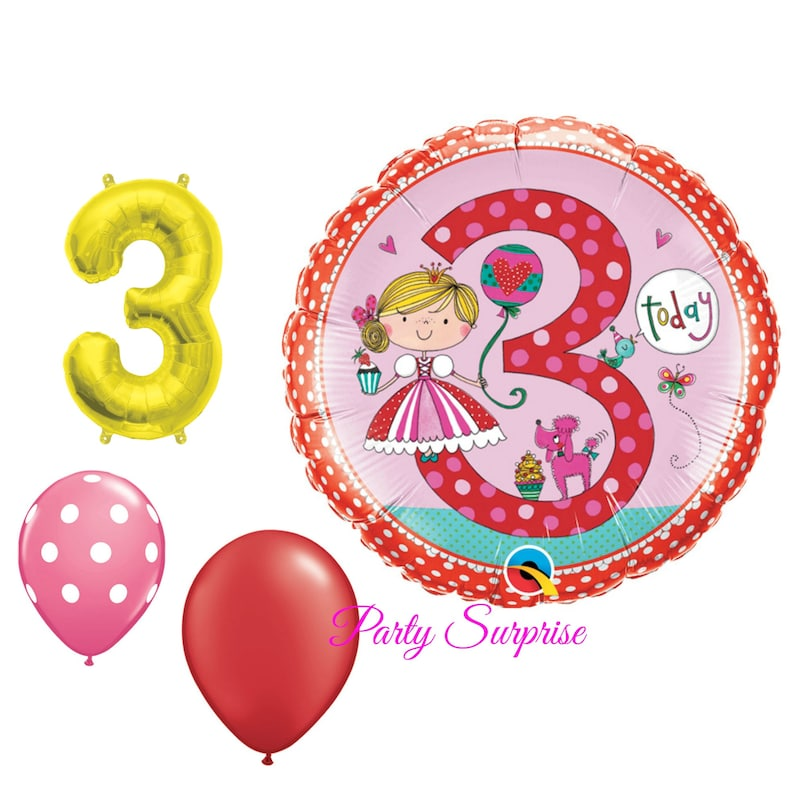 3rd Birthday Balloons Girl Princess Party Ballerina 3 Year Old