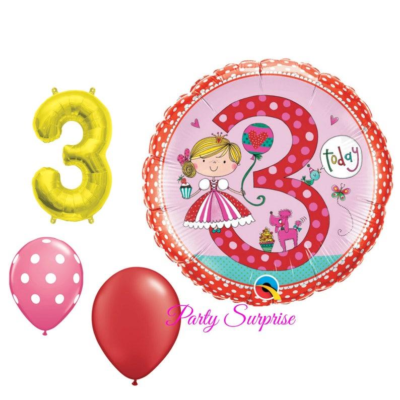 3rd Birthday Balloons Girl Princess Party Ballerina 3 Year Old