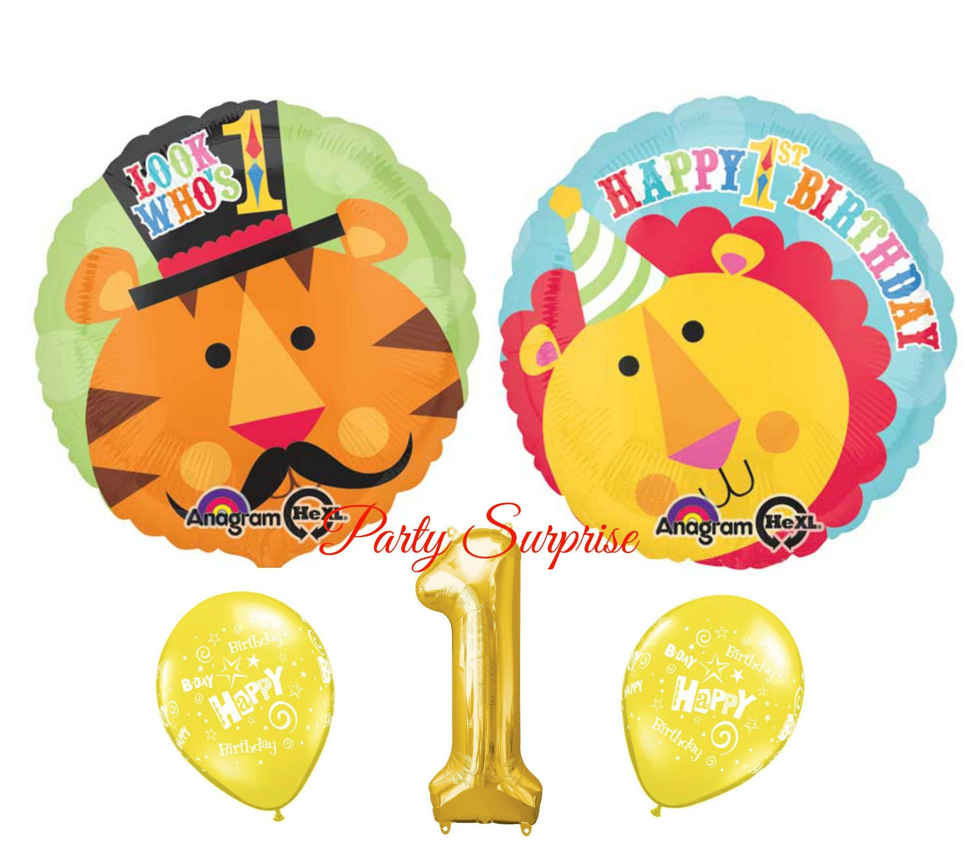 1st Birthday Balloons Girl Boy Fisher Price Lion