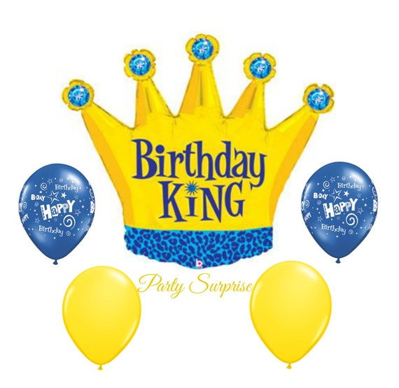 Birthday Crown Balloon Jumbo King Package Mans Balloons Dad Grandpa Uncle Brother