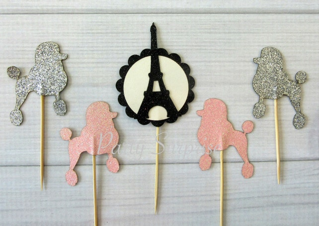 Paris Cupcake Toppers Pink and Silver Glitter Poodles Eiffel Tower Pink Silver Cupcake Toppers Paris Party Decoration Dog Party Toppers