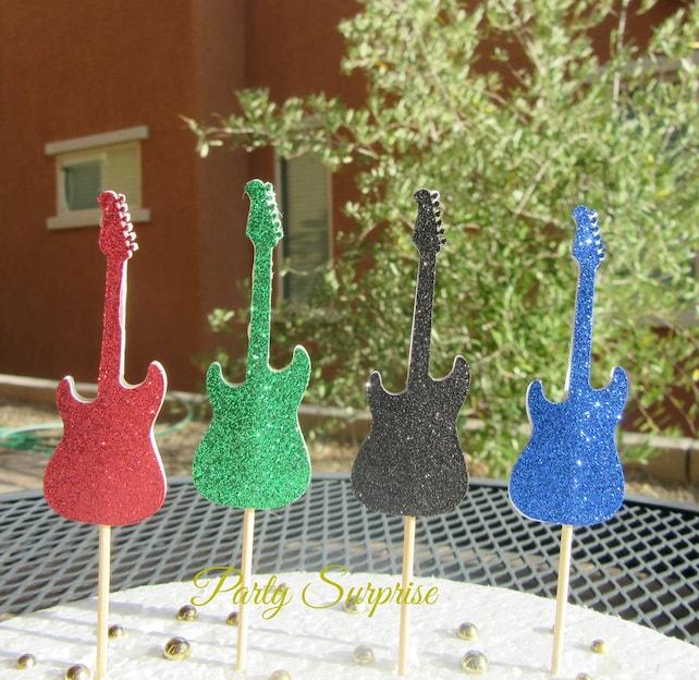Guitar Cupcake Toppers Glitter Guitar Cake Cupcake Toppers Rock N