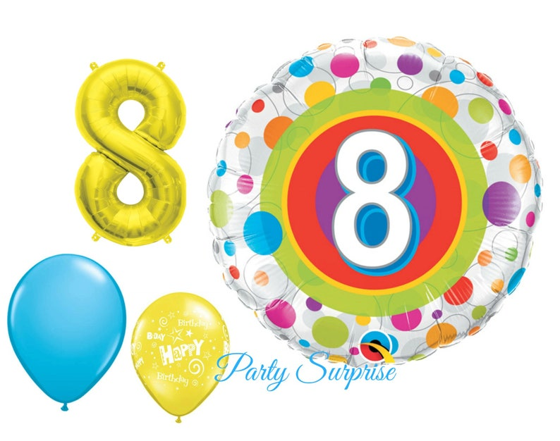8th Birthday Balloon Package 8 Years Old Party