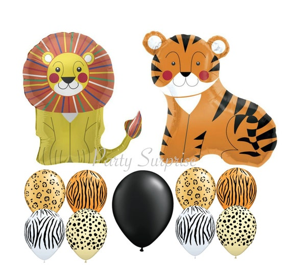 Safari Balloons Lion Tiger Mylar Animal Print Latex Safari Jungle