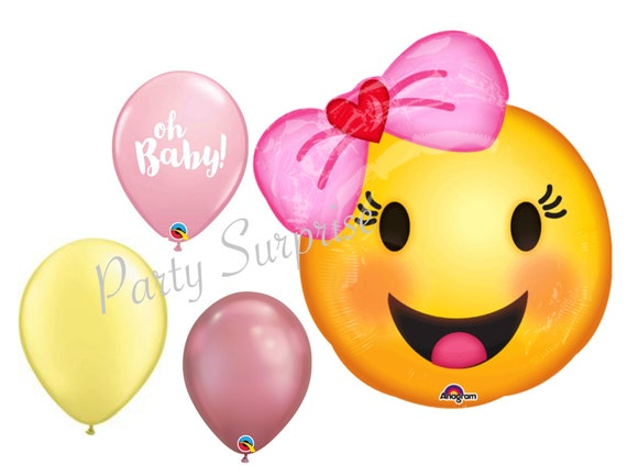 Smiley Emoji Baby Girl With Pink Hair Bow Women Birthday