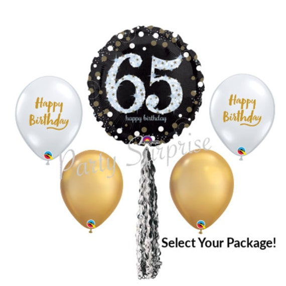 65th Birthday Balloon Package Happy Balloons Diamond Clear Gold Black Select Your Adult