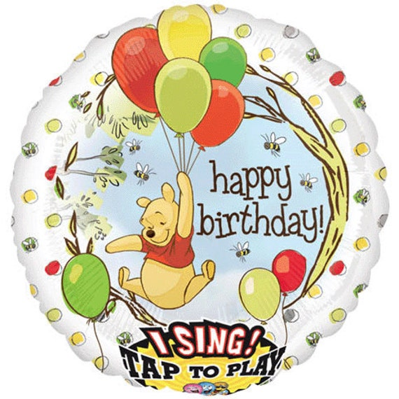Pooh Bear Happy Birthday Singing Balloon 1st 2nd Party Balloons Toddler
