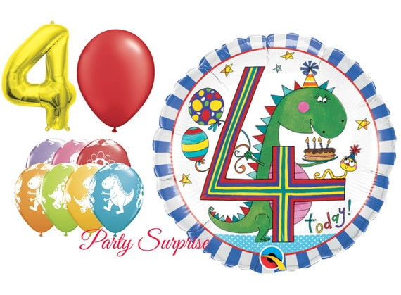 4th Birthday Balloon Package Dinosaur Balloons