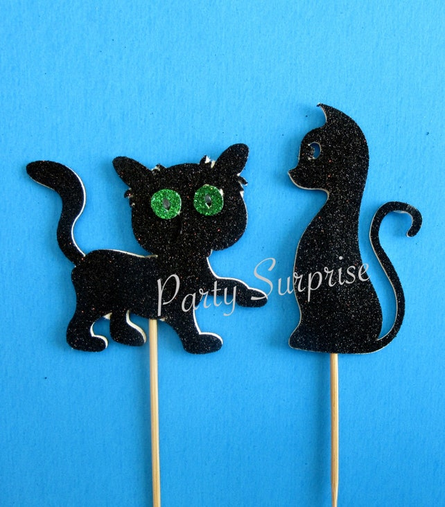Cat Cupcake Toppers Black Glitter Kitten Toppers Cat Birthday Party Kitten Pet Adoption Rescue Birthday Party Cupcake or Cake Toppers