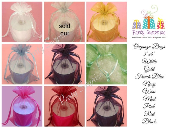 2c69292e08 Organza silk Bags 3x4 white gold French blue navy red mint pink wine red  black Wedding Favor Bags