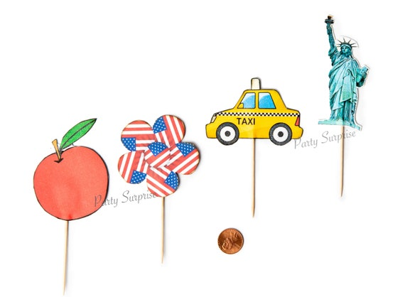 NYC Cupcake Toppers New York City Party Cake Cupcake