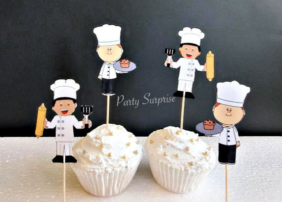 Fine Chef Cupcake Toppers Kids Birthday Party Cooking Baking Party Birthday Cards Printable Giouspongecafe Filternl