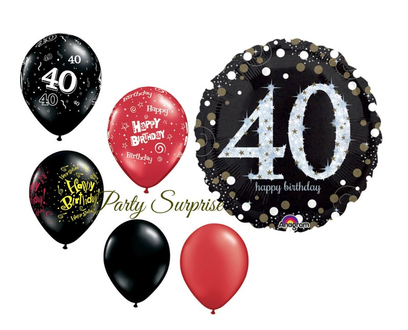 40th Birthday Balloons 40 Party Black Latex
