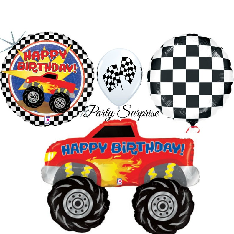 Monster Truck Happy Birthday Balloon Package Men Boy Party Car And Kids Balloons