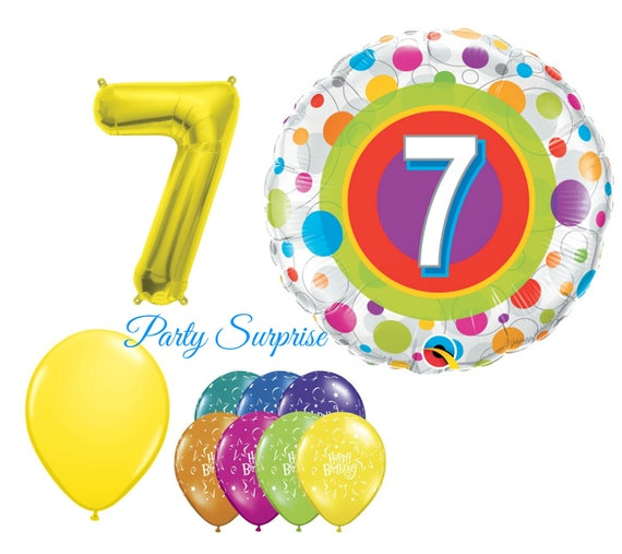 7th Birthday Balloon Package 7 Years Old Girl Boy Party