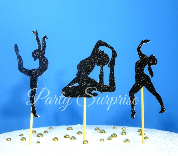 Gymnastics Cupcake Topper Black Glitter Silver Gold Sports Birthday