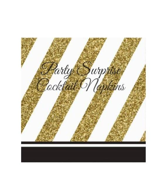 Black And Gold Beverage Napkins: Cocktail Napkins Gold And Black Elegant Beverage Napkins