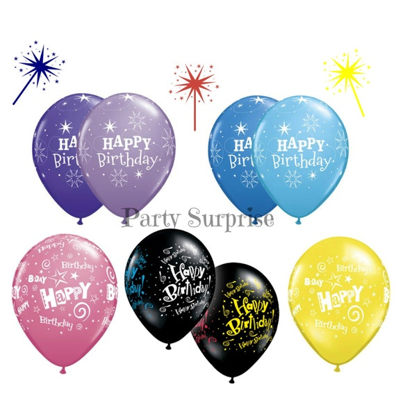 Happy Birthday Balloons 11 Latex Purple Lilac Black Blue Pink Women