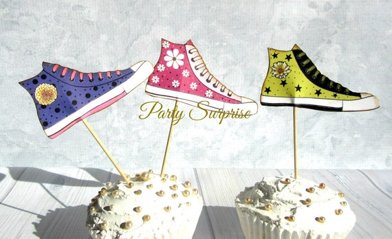 Prime Sneaker Cupcake Toppers High Tops Girl Birthday Party Sports Funny Birthday Cards Online Alyptdamsfinfo
