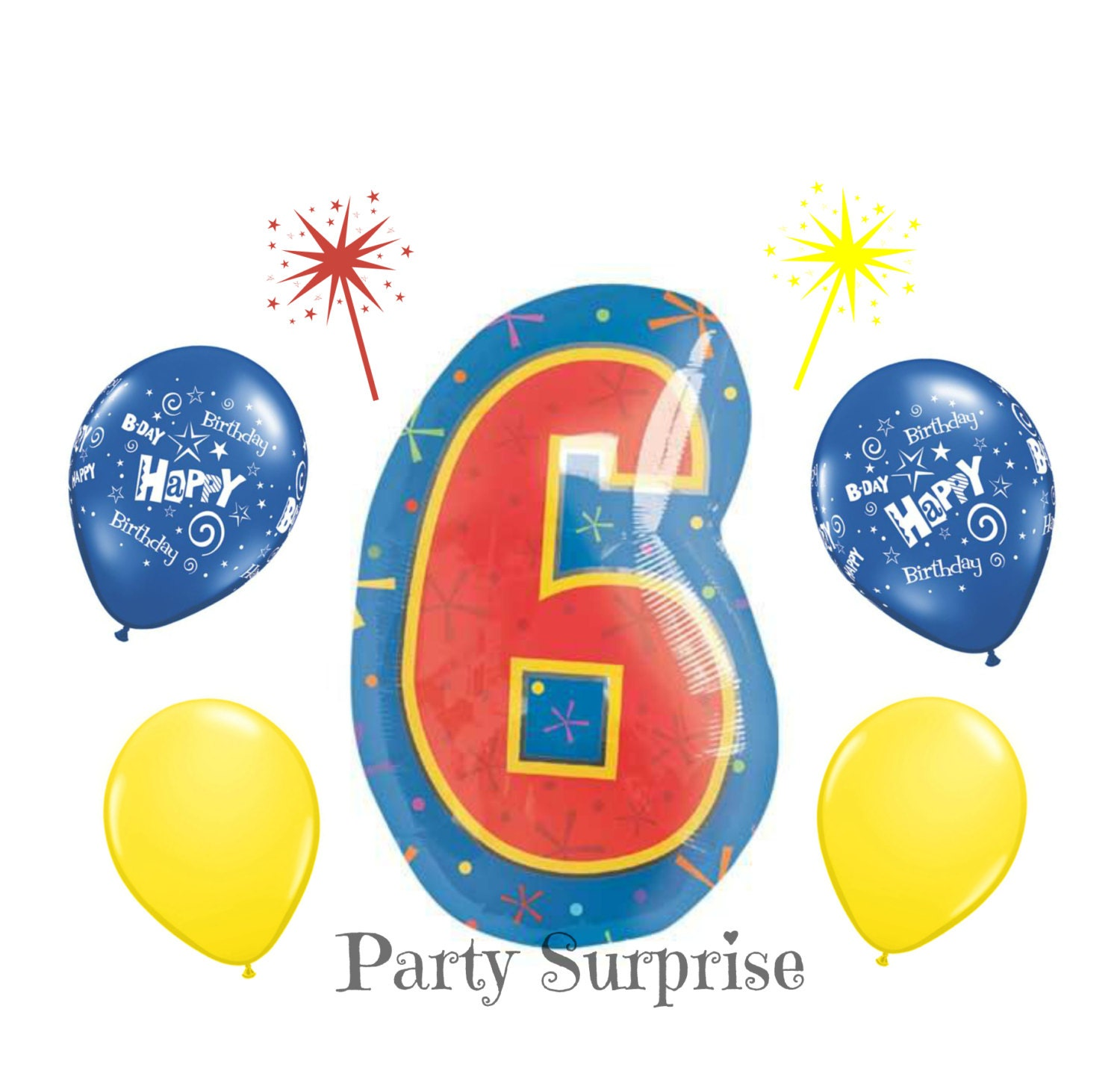 6th Birthday Balloons 21 Mylar Foil 6 11 Blue And