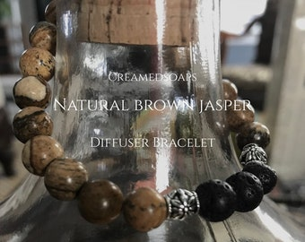 Natural Brown Jasper Aromatherapy/Diffuser Bracelet {Adult Small, Size 7}