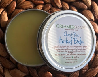 Herbal Chest Balm; Natural Decongestant; Cold Balm; Natural Vapor Rub; Eucalyptus Chest Rub