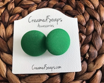 Kelly Green Button Fabric Earrings
