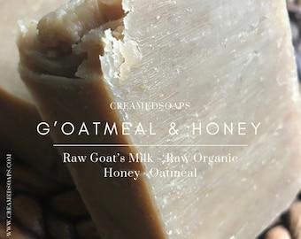 Unscented Goat's Milk - Oatmeal - Organic Honey Soap/Hot Process