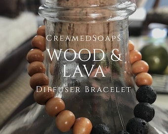 Aromatherapy/Diffuser Bracelet - Medium Wood Beaded Lava Bracelet {Adult Size 7}
