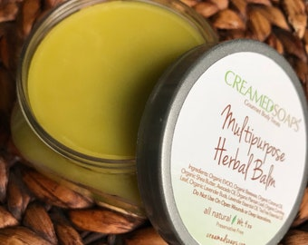 Herbal Multipurpose Balm - Eczema Balm -Baby Balm - Tattoo Balm - Organic Beeswax Balm - Bikini Balm - Lavender & TeaTree   (4oz)
