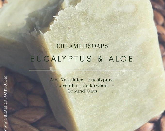 Featured listing image: Eucalyptus, Lavender & Cedarwood Oatmeal Soap- Aloe Vera Soap - Hot Process Vegan Soap